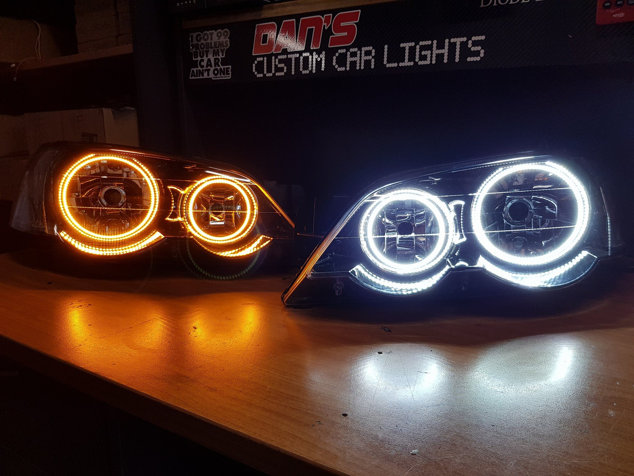 Ford Falcon BA/BF XR6/XR8 Headlights with White Halo Rings and DRL  (optional) | danscustomcarlights