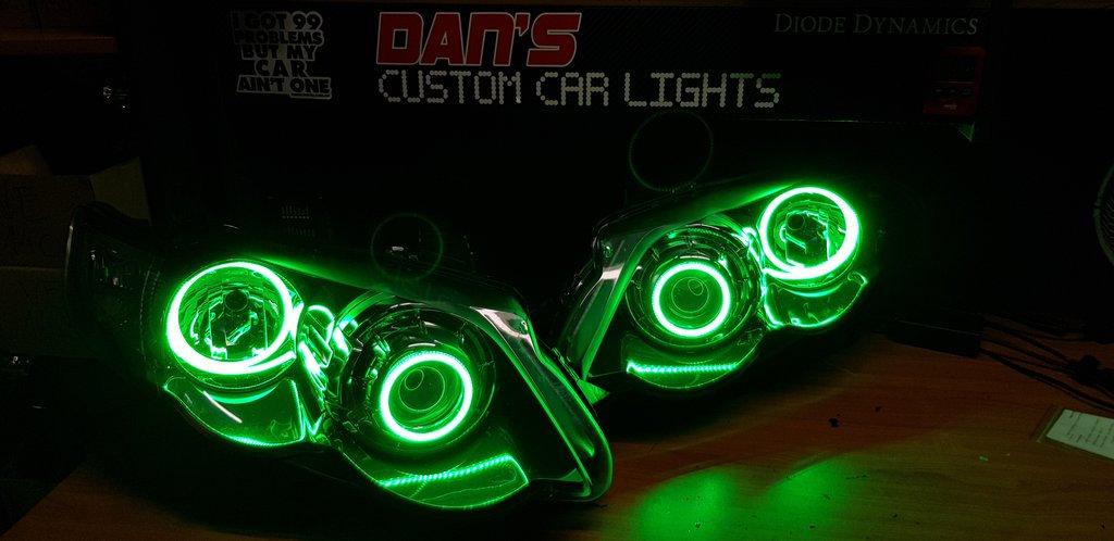 Ford Falcon FG XR6 XR8 MK2 Projector Headlights w/ RGB Quad Halo Rings |  danscustomcarlights