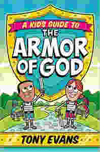 Red, yellow, and green book cover depicts boy and girl dressed in the Armor of God.