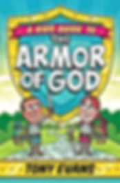 Red, yellow, and green book cover depicts boy and girl dressed in the Armor of God with shield ready for spiriual warfare battle offered for sale by Chirstian Home Schooling.