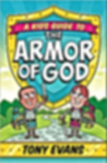Red, yellow, and green book cover depicts boy and girl dressed in the Armor of God with shield ready for spiriual warfare battle.