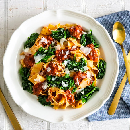 Summer Pasta with Greens and Artichoke Walnut Sauce