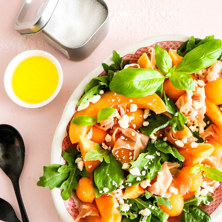 Cantaloupe, Prosciutto and Basil Salad