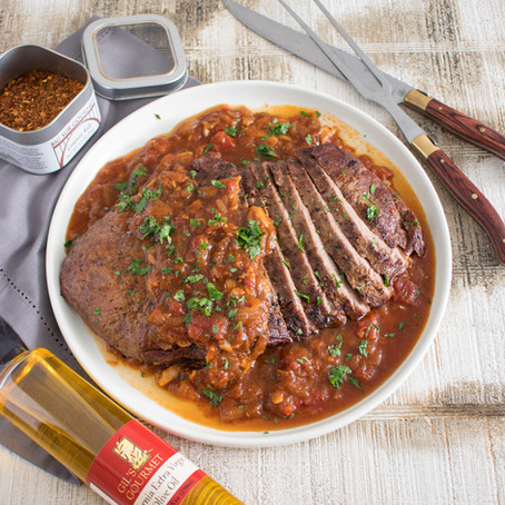 Holiday Brisket with Savory Onion Skillet Sauce