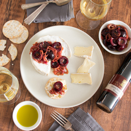 Camembert with Olive Oil Marinated Cherries and Shallots
