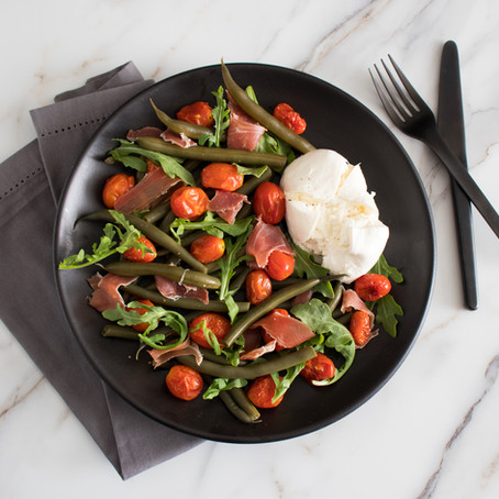 Italian Pickled Green Bean Salad with Roasted Tomatoes, Speck, and Burrata