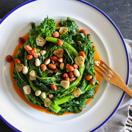 Pepper Oil and Peanut Broccoli Rabe