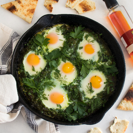 Gil's Pepper Oil Shakshuka with Spinach