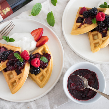 Gil's Olive Oil Waffles with Balsamic Berries