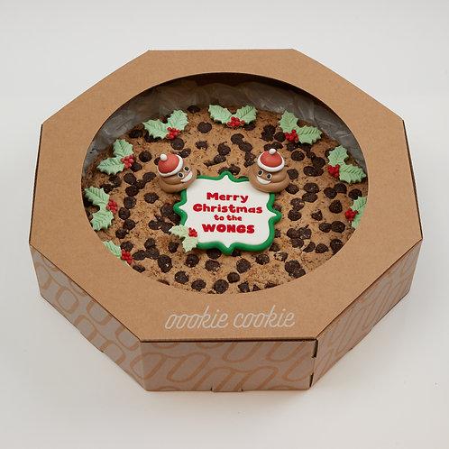 """Cookie Cake - 12"""" Giant Chocolate Cookie with Meringue Xmas Poop"""