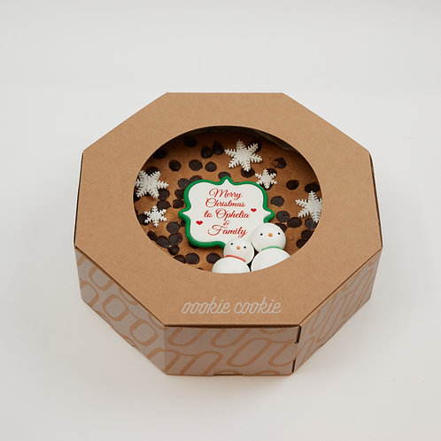"""Cookie Cake - 9"""" Baby Giant Chocolate Cookie with Meringue snowman"""