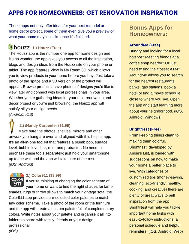 TOP 12 APPS FOR HOMEOWNERS AND RENTERS | Zelsman Powers