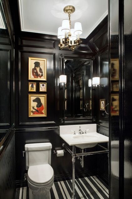 Old hotel inspired powder room
