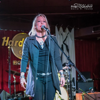 On stage at the Hard Rock Cafe in Boston