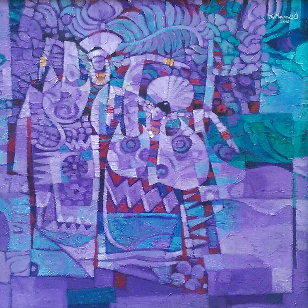 Color Cube Art Gallery_Tin Maung oO_Myanmar Puppet_Acrylic_75cmx75cm_2016