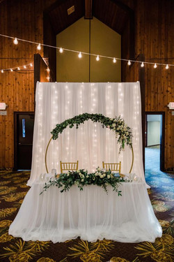 Sweet heart table with moon arch