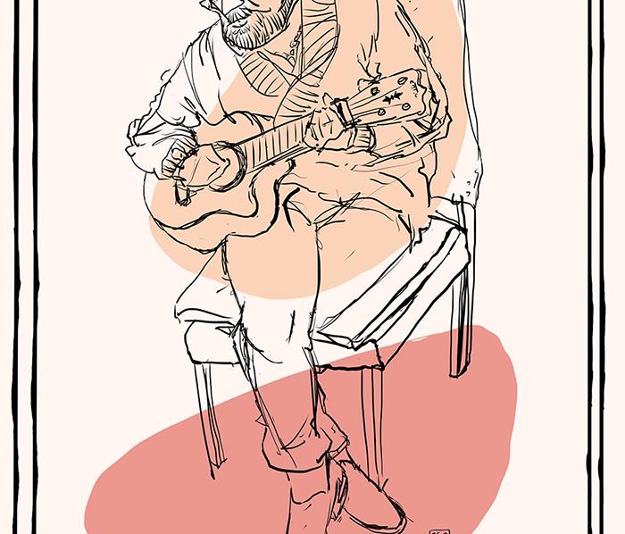 Walter playng ukulele