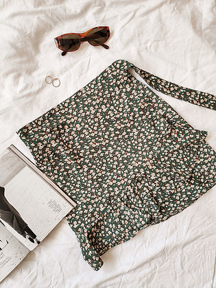 Bali Skirt / Green Flowers