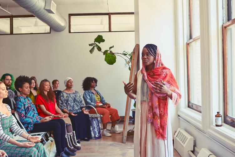 Karmay leading a grounding meditation