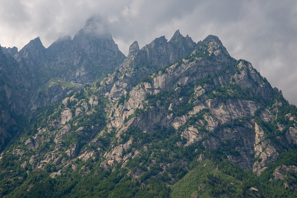 Mountain peaks as seen from Val di Mello in Italy.