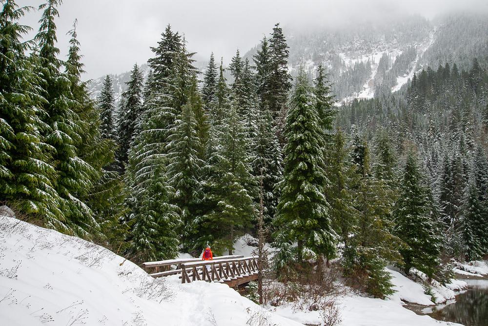A quaint winter scene in the Cascades of Washington.