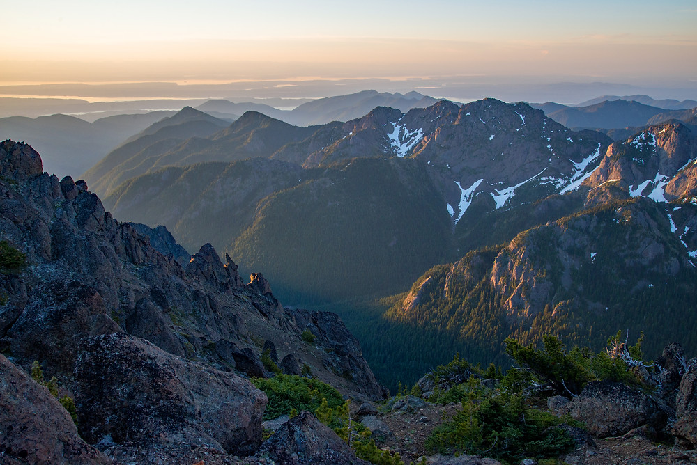 Mountains at sunrise in Olympic National Park in Washington.