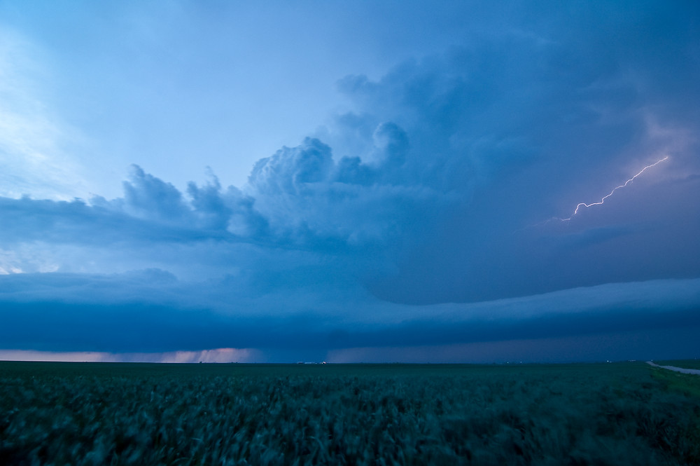A supercell at dusk in western Oklahoma.