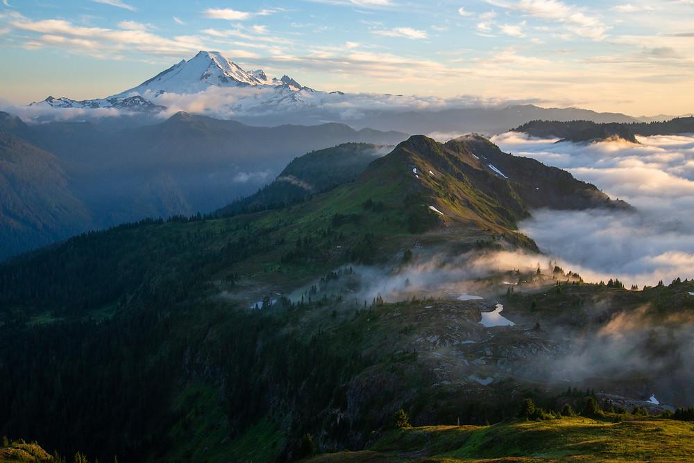 Mount Baker and the Mount Baker Wilderness in Washington.