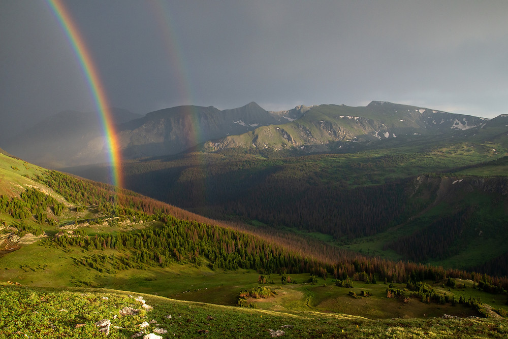 Rainbow over Forest Canyon in Rocky Mountain National Park in Colorado.
