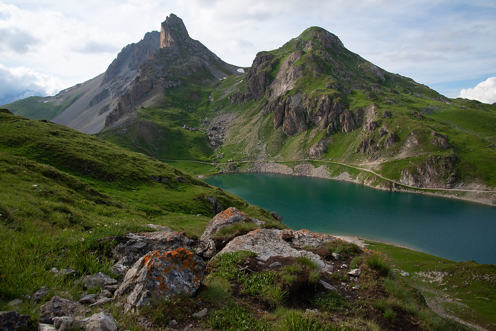 A lake in the Massif des Cerces in the Alps of France.