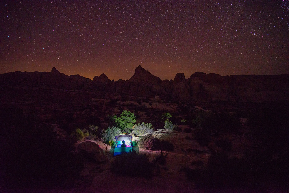 Camping under the stars in Capitol Reef National Park in Utah.