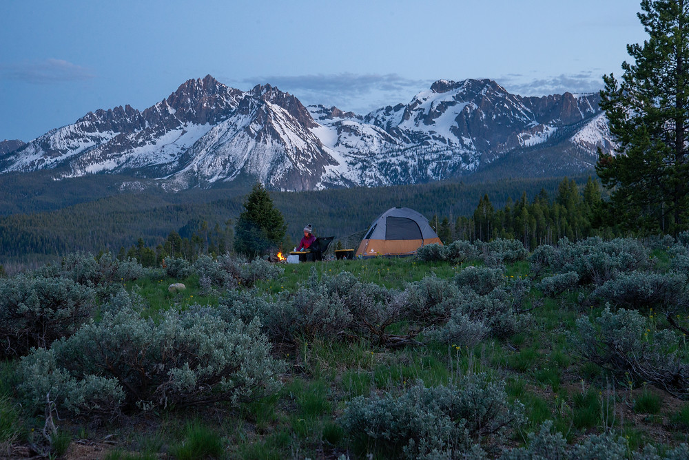Camping under the Sawtooth Range near Stanley, Idaho in spring.