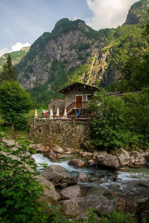 A rifugio in Italy's Val di Mello.