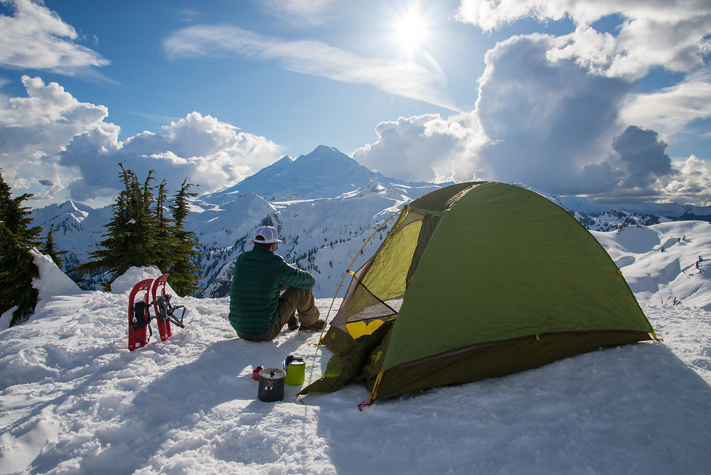Snow camping in the backcountry near Mount Baker in Washington.