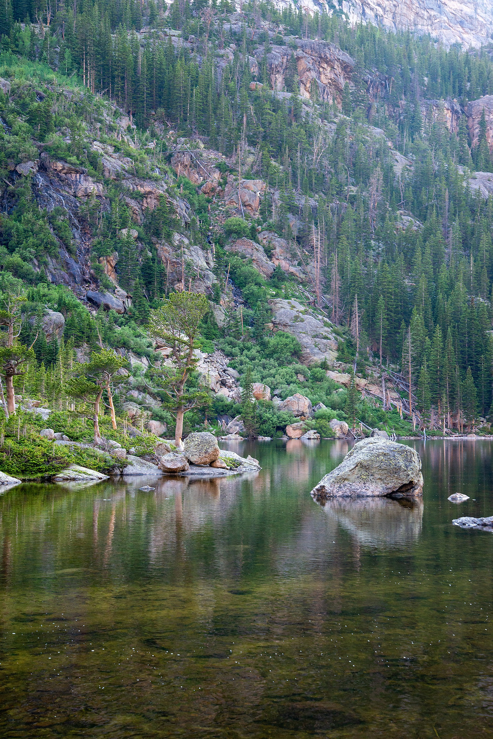 Mill Lake in Rocky Mountain National Park in Colorado