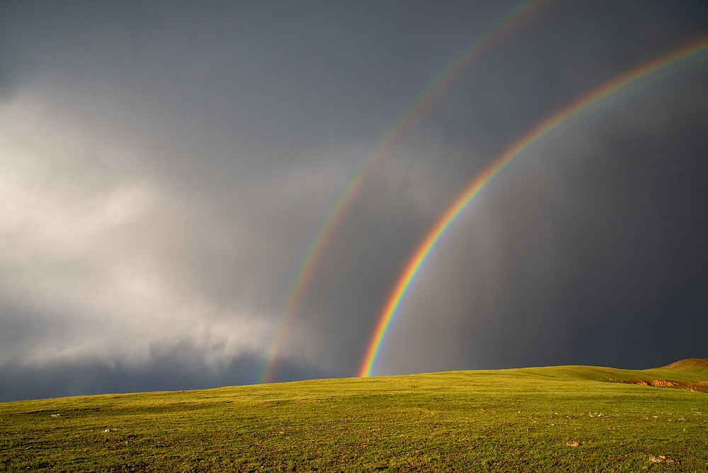 Rainbow on Trail Ridge in Rocky Mountain National Park in Colorado.