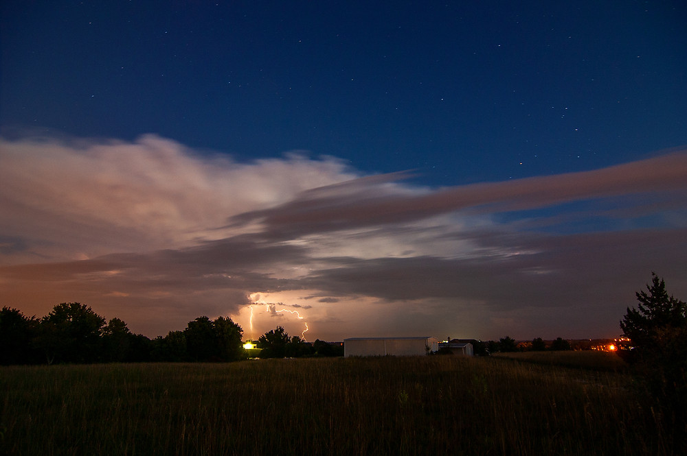 A summer thunderstorm under the stars in Kansas.
