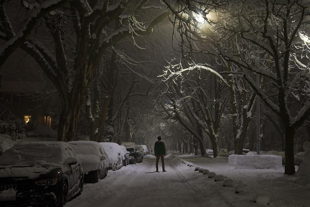 A snowy night in Seattle, Washington.