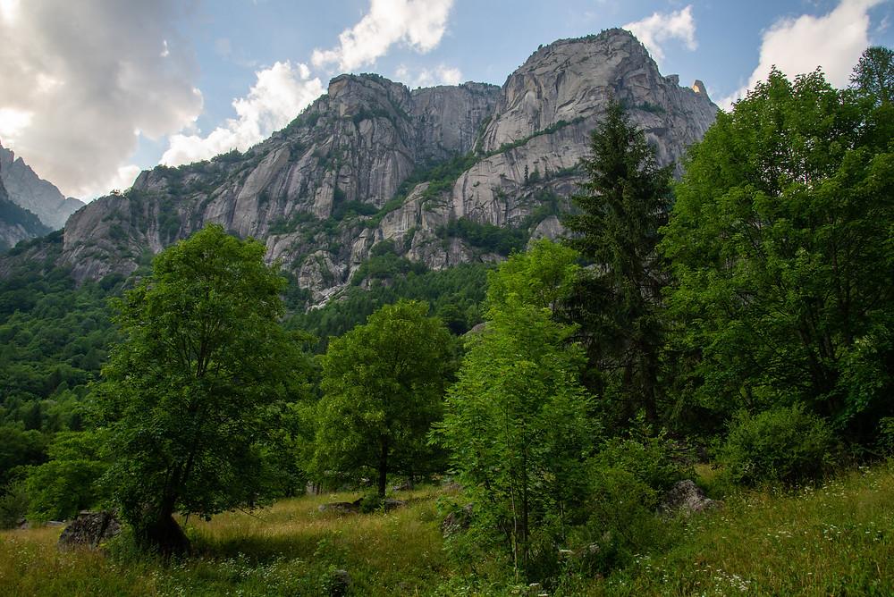 Granite cliffs in Val di Mello Italy.