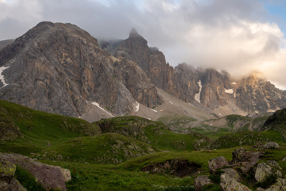 Limestone peaks in the Massif des Cerces in France.