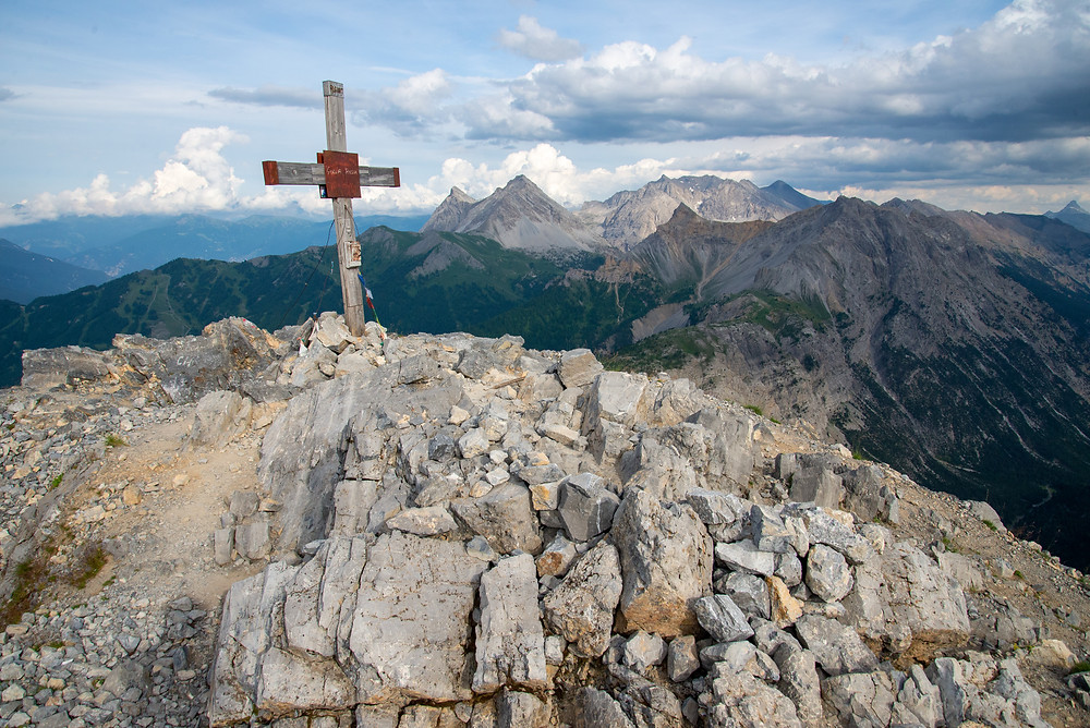 Summit shot from a peak in the Alps of France.