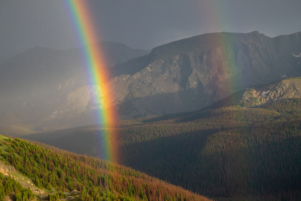 Double rainbow in Rocky Mountain National Park in Colorado.