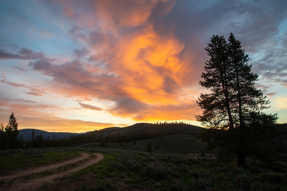 Sunrise in Sawtooth National Forest in Idaho.