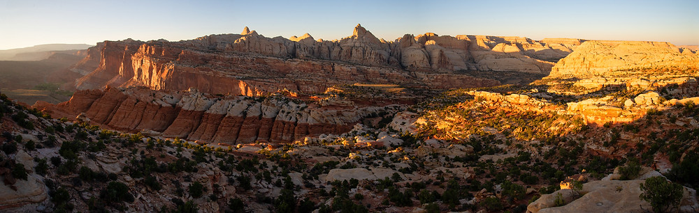 A panoramic of Capitol Reef National Park in Utah.