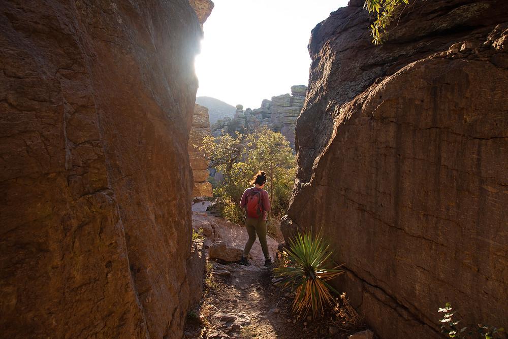 Hiker in Chiricahua National Monument in Arizona.