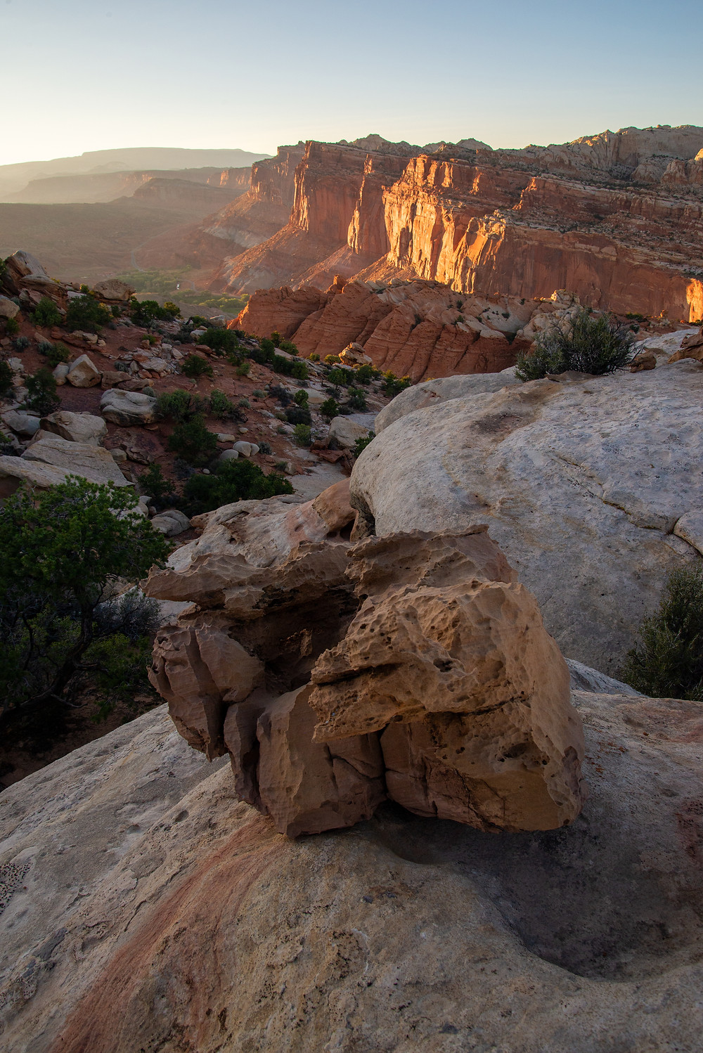 A sunset view looking towards Fruita in Capitol Reef National Park in Utah.