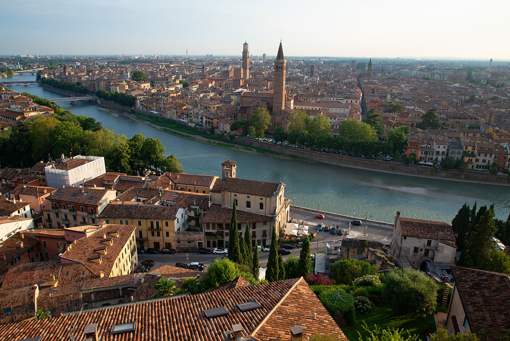 The Adige River flows through the beautiful city of Verona in northern Italy.