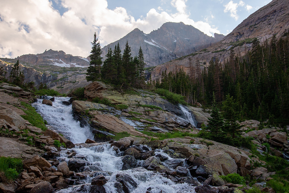 Ribbon Falls in Rocky Mountain National Park in Colorado