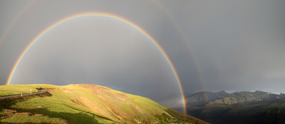Rainbow on the Trail Ridge Road in Rocky Mountain National Park in Colorado.