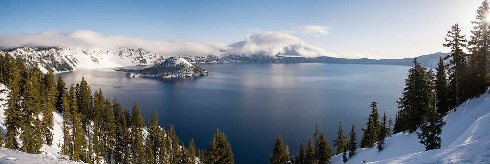 A winter morning on Crater Lake in Oregon.